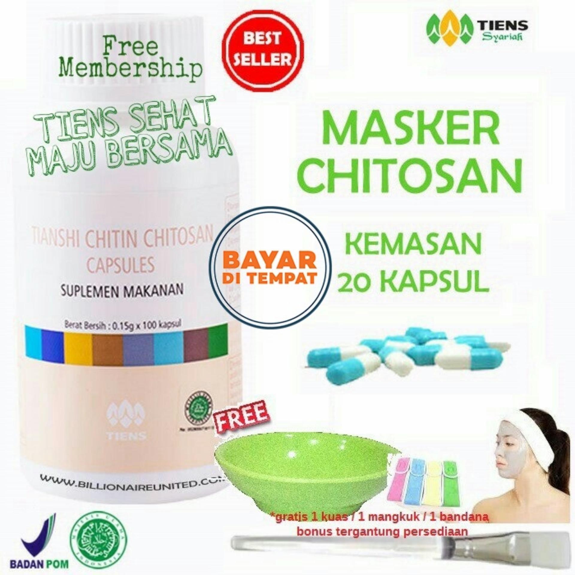 Tiens Masker Chitosan Herbal Anti Jerawat - Masker Kulit Berminyak - Masker Penghilang Jerawat - Masker
