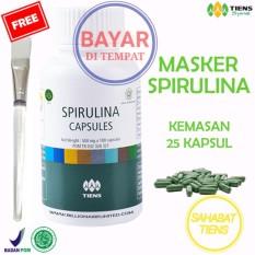 Tiens Masker Hijau Pemutih Wajah Spirulina Herbal Terpercaya Paket 25 Kapsul Free Kartu Member St Original