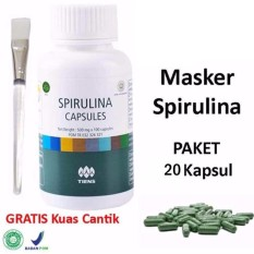 Tiens Masker Spirulina Herbal Alami - 20 Kapsul + Kuas Cantik - 1 Pcs