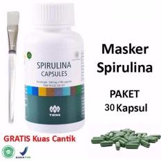 Tiens Masker Spirulina Herbal Alami - Masker Wajah - 30 Kapsul + Gratis Kuas Masker - 1 Pcs