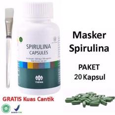 Tiens Masker Spirulina - Masker Herbal Pemutih Wajah - Paket 20 Kapsul + Kuas Cantik