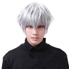 Tokyo Hantu Wig Kaneki Ken Bang Pendek Perak Putih Kostum Cosplay Mengenakan Wig Rambut Lurus-Intl