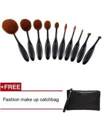 Fashion Penjualan Teratas 10 Pcs/set Sikat Gigi Bentuk Oval Krim Puff Makeup Set Kit Pro Foundation Powder Blusher Eye Shadow Eyeliner SIKAT Alat Kecantikan-Intl