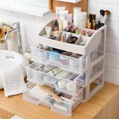 Transparan Kotak Penyimpanan Kosmetik Laci Gaya Plastik Desktop Finishing Kotak Lemari Plusize Produk Perawatan Kulit Rak Meja Kotak Penyimpanan (3 LayersTransparent) -Intl
