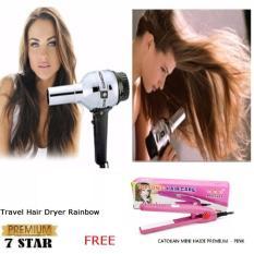 Travel Hair Dryer Rainbow - Pengering Rambut - Silver 1Pcs + Gratis Haidi Catok Mini Pink