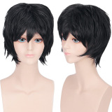 Beli Unisex Anime Pendek Lurus Penuh Wig Hitam Seken