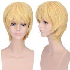 Harga Unisex Anime Pendek Lurus Penuh Wig Kuning Original