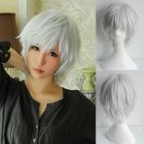Unisex Putih Keperakan Wig Rambut Lurus Pendek Cosplay Anime Full Wig Intl Diskon Tiongkok