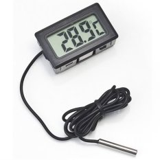 Universal Digital Thermometer with Probe for Aquarium Length 1m - Black