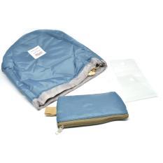 Universal Tas Travel Desain Barrel Perlengkapan Kosmetik - Blue
