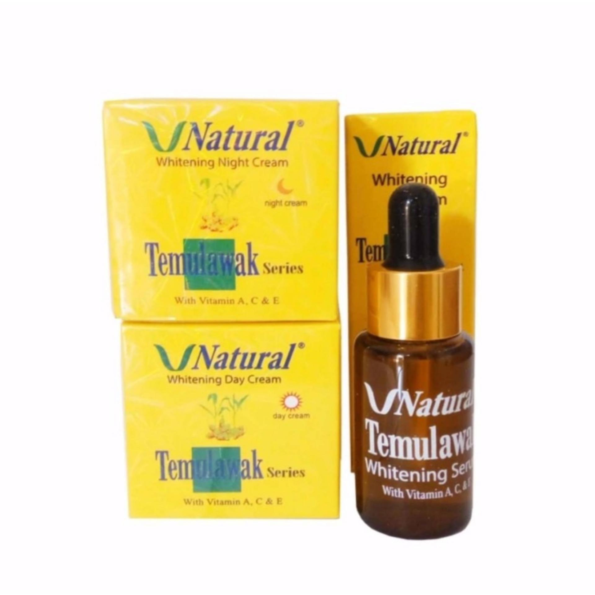 V Natural Paket Temulawak Cream Siang & Malam Plus Serum - 3 Item