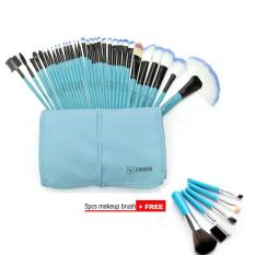 Review Terbaik Vander 32 Pcs Wajah Makeup Brushes Set 5 Pcs Eye Makeup Brush Set Beli 1 Dapatkan 1 Free Biru Intl