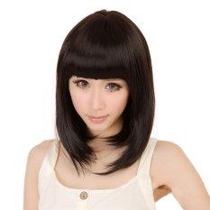 Vanker Fashion Wanita Lady Hitam Lurus Berponi Penuh BOBO Rambut Pesta Cosplay Wig Pendek