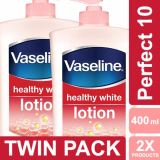 Jual Vaseline Lotion Healthy White Perfect 10 400Ml Twin Pack Murah Di Jawa Barat