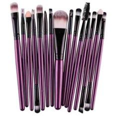 Vienna Linz Kuas Make Up 15 Pc MakeUp Set Toiletry Soft Brush Brushes Beauty Accessories s5763 - Ungu