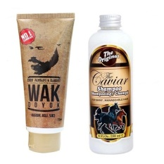 Wak Doyok - Cream Penumbuh Jambang Herbal - Kumis Bulu Jenggot Rambut - 75ml & Shampoo Caviar Kuda - 250 ml