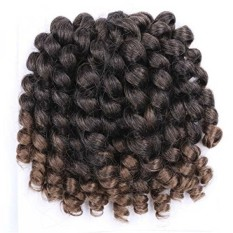 Wand Curl Braids Curly Crochet Braiding Hair 3packs 8inch 20roots/pack Jamaican Bounce Looped Synthetic Hair Extensions(#T30 8inch) - intl