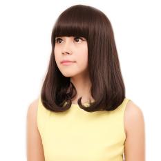 Wanita Cosplay Poni Lurus Datar Pinggiran Suhu Tinggi Serat BOB Keriting Rambut Wig Rambut Palsu Pir Bunga Coklat Muda