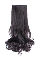 Wanita Klip Di Curly Wave Ekstensi Rambut Wig Ponytail Hairpieces 48 Cm Hitam-Intl