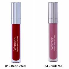 Wardah Exclusive Matte Lip Cream 01 (Reddicted) dan 04 (Pink Me)