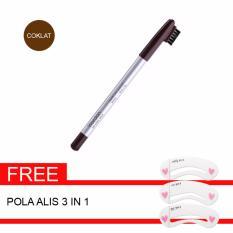 Wardah Paket Eyebrow Pencil Brown & Gratis Pola Alis 3 in 1