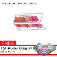 Wardah Paket Lip Palette D Chocoaholic + Gratis Topi Pantai Rainbow 1208-11 - 1pcs