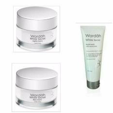 Wardah white secret day & night cream 30gr + Facial wash 100ml Paket kecantikan