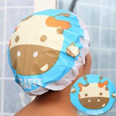 Waterproof Elastic Lace Shower Bouffant Hair Bath Cap Blue Giraffe