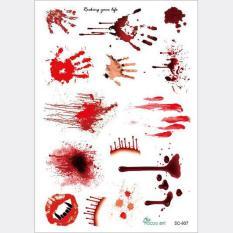 Tahan Air Teror Gigitan Zombie Tato Stiker Luka Bekas Luka Kostum Halloween-Intl
