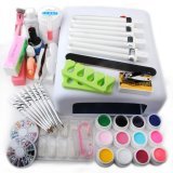 Spek Putih 36 W Uv Lamp Base Gel Warna Primer Nail Art Brush Glueglittertips Set Intl Oem