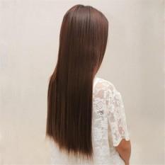 Whyus-tahan Fashion 64 Cm Clip-in Hair Extension Matte Potongan Rambut Lurus Panjang Sintetis Wig (Flaxen) -Intl