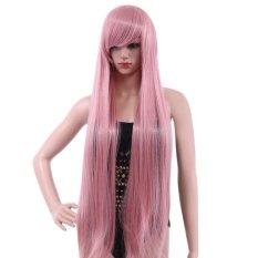 Wanita 100 Cm Panjang Silky Lurus Central Perpisahan Sintetis Wig dengan Poni Warna Rambut-Intl