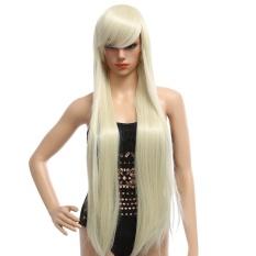 Wanita 100 Cm Panjang Silky Lurus Central Perpisahan Sintetis Wig dengan Poni Warna Rambut (GOLDEN)-Intl
