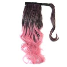 Wanita Big Curly Wavy Ponytail Wig Ombre Warna Ekor Kuda Sopak Ekstensi Wig-Intl