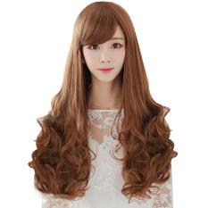 Wanita Cosplay Miring Poni Panjang Ikal Keriting Rambut Wig Berwarna Kuning Muda