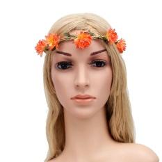 Wanita Elastis Bunga Headband Garland Pernikahan Karangan Bunga Crown Coating Rambut Band-Intl
