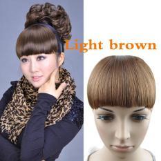 Wanita Perempuan Front rapi poni klip pada depan Hair Extension