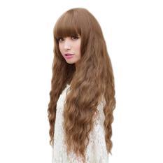 Wanita Long Curly Bergelombang Rambut Penuh Wig Cosplay Party Wig-Intl