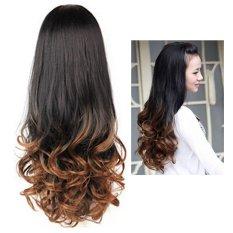 Wanita Long Curly Bergelombang Setengah Rambut Wig Tahan Panas Gradient Warna Keindahan Gaya-Intl
