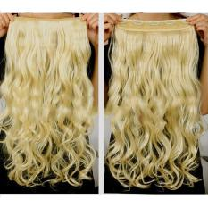Wanita Long Curly Bergelombang Wig Tahan Panas Serat Sintetis Rambut Piece 5 Klip Di Rambut Ekstensi