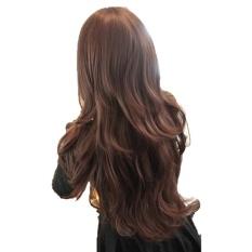 Wanita Panjang Berbulu Besar Keriting Rambut Bergelombang Wig dengan Miring Poni-Intl
