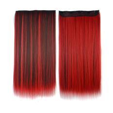 Wanita Panjang lurus rambut klip sopak Wig tinggi Tempreture sintetis rambut ekstensi