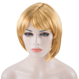 Spek Women Short Bob Wig Fancy Dress Cosplay Party Costume Golden Intl Oem