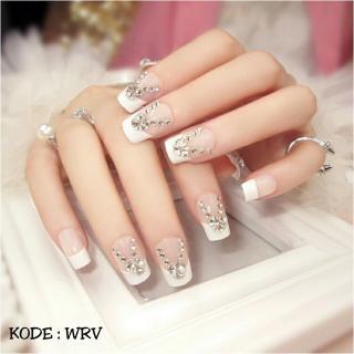 WRV-wedding party fake nails-kuku palsu pernikahan-aksesoris kuku dan nailart(di kirim sesuai warna dan model gambar) thumbnail