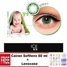 X2 Ice Nude N8 Softlens + Cairan Pembersih Softlens 60ml + Lenscase