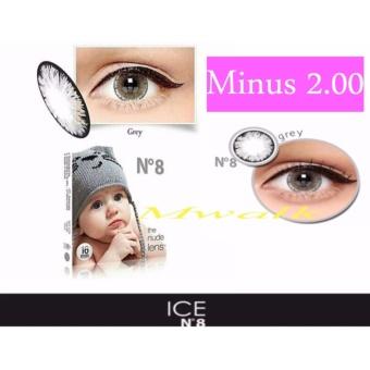 X2 Ice Nude N8 Softlens - Minus 2.00- Gray + Gratis Lenscase