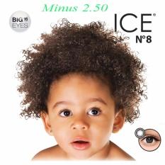 X2 Ice Nude N8 Softlens - Minus 2.50- Black + Gratis Lenscase