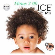 X2 Ice Nude N8 Softlens - Minus 3.00- Black + Gratis Lenscase