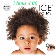 X2 Ice Nude N8 Softlens - Minus 4.00- Black + Gratis Lenscase
