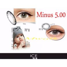 X2 Ice Nude N8 Softlens - Minus 5.00- Gray + Gratis Lenscase